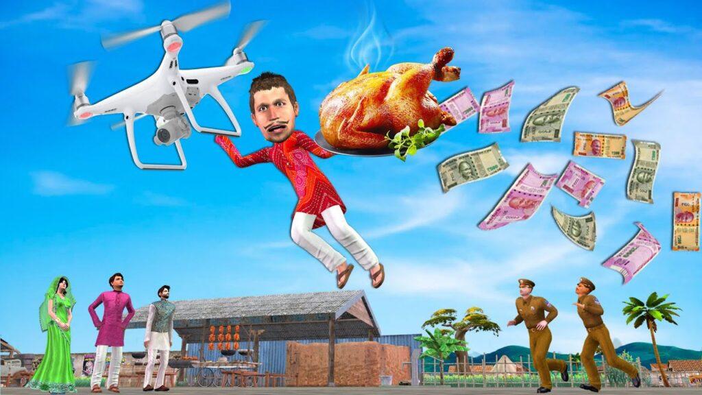 ड्रोन चिकन भोजन पहुचना Drone Chicken Food Delivery Comedy Video हिंदी कहानिय Hindi Kahaniya Comedy