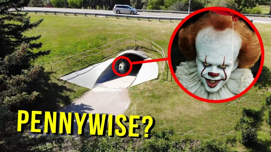 DRONE CATCHES PENNYWISE AT HAUNTED TUNNEL!! (HE TOOK MY DRONE!!)