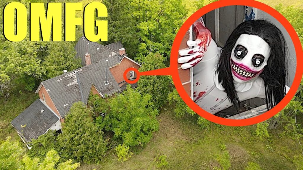 Drone catches Jeff The Killer at his hideout in this scary forest! (he was so angry)