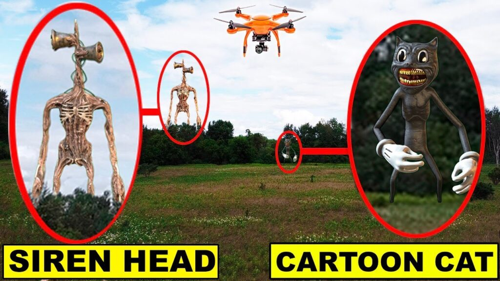 YOU WONT BELIEVE WHAT MY DRONE CAUGHT AT THE SIREN HEAD FOREST | SIREN HEAD AND CARTOON CAT CAUGHT!