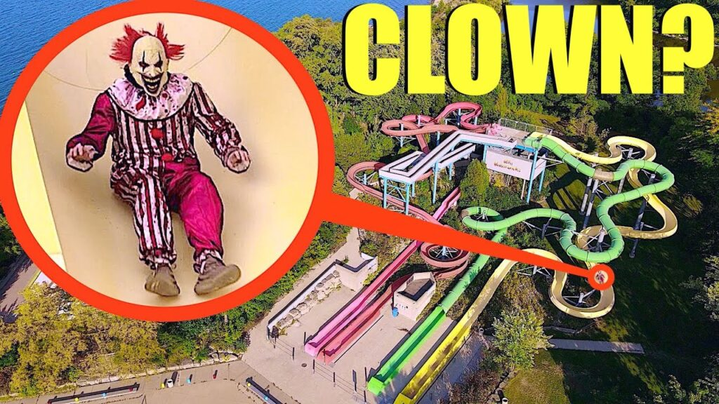 drone catches crazy clown at abandoned water park (it was going down the slides)
